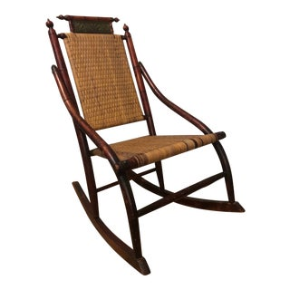 Antique Double Rattan Rocker With Original Red Paint For Sale