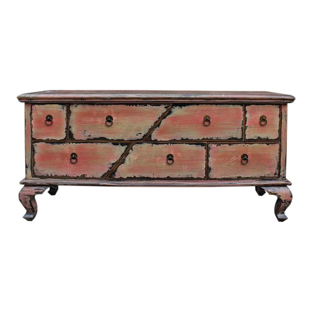 Chinese Pink Distressed Cabinet - Image 1 of 9
