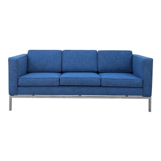 Knoll Style Chrome 3 Seater Sofa For Sale