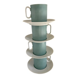 Mid-Century Blue and White Cups & Saucers - Set of 8