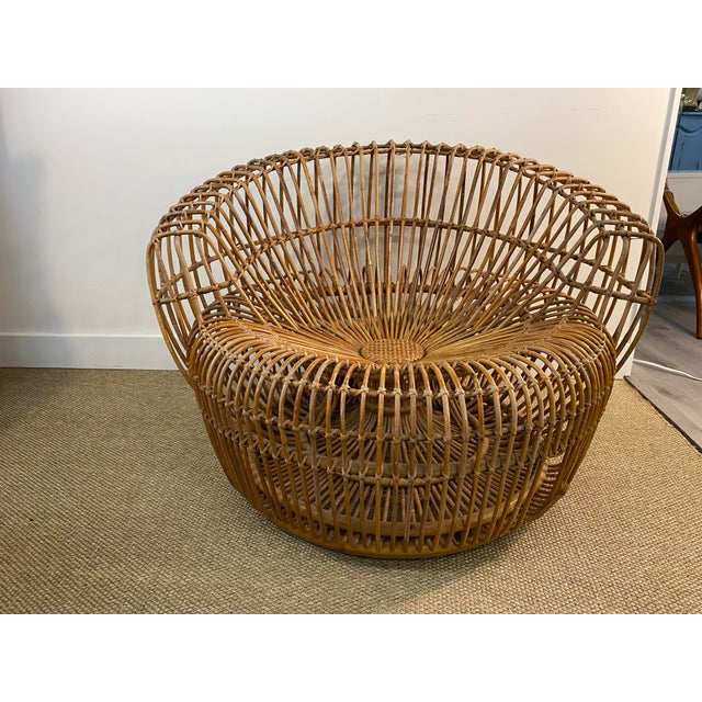 Original Franco Albini Wicker Rattan Chair and Ottoman - a Pair For Sale - Image 4 of 13