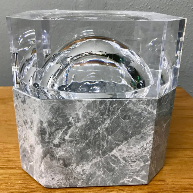 This is a stunning marble and lucite ice bucket. Heavy and substantial solid octagon marble base with a super thick lucite...