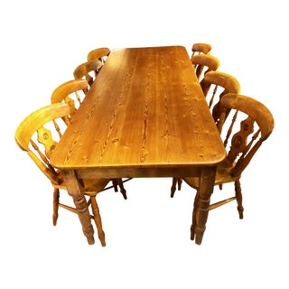 Mid 19th Century English Pine Farm Table & 8 Bullseye Chairs