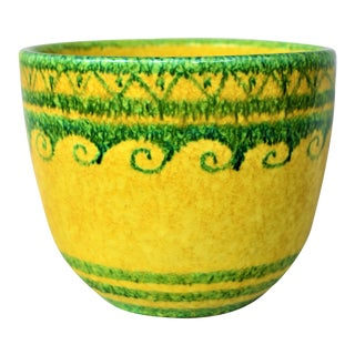 1980s Italian Green and Yellow Pottery Cachepot For Sale