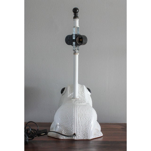 Vintage Italian White Ceramic Hobnail Frog Lamp With Hand Painted Shade in the Style of Jean Roger For Sale - Image 4 of 11