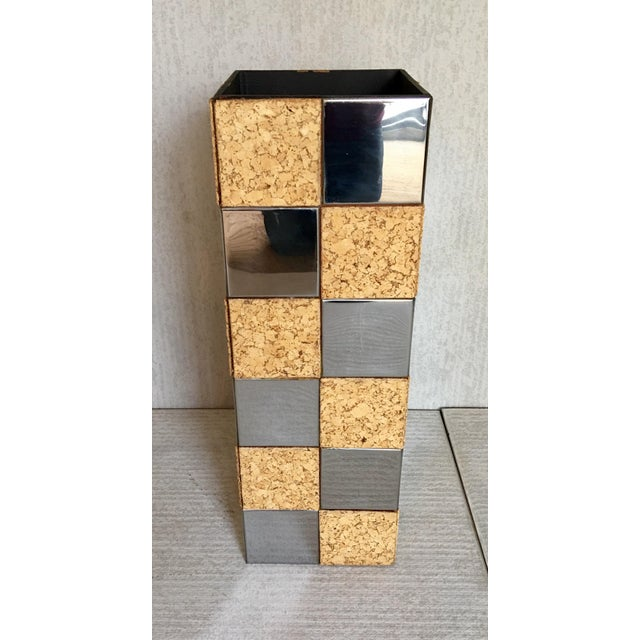 Paul Evans Style Cork & Chrome Pedestal Plant Stand - Image 5 of 6