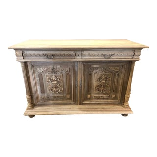 19th Century French Renaissance Carved Oak Sideboard For Sale