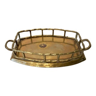 Octagonal Brass Bamboo Tray For Sale