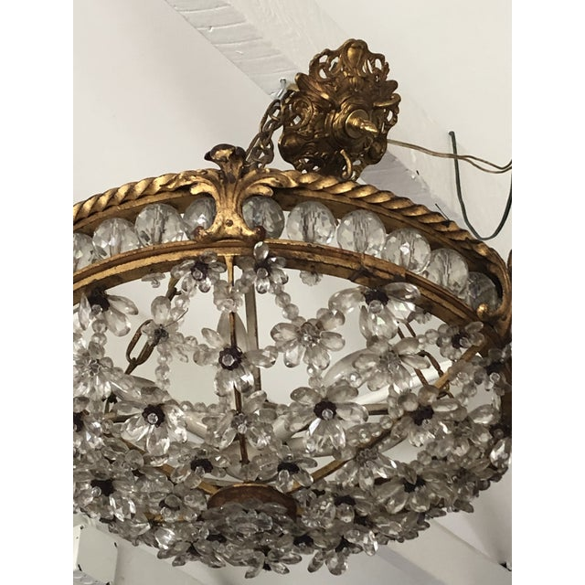Antique Bronze & Crystal French Chandelier Pendant For Sale - Image 9 of 13