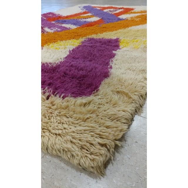 "Textile Vintage Swedish Rya Carpet - 4'6"" x 6'5"" For Sale - Image 7 of 9"