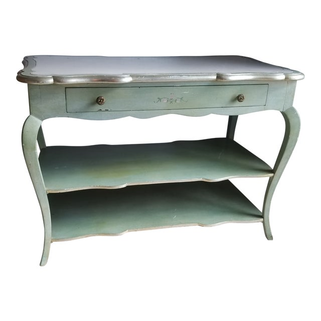 1930s Italian Florentine Painted With White Marble Top Console or Dressing Table For Sale