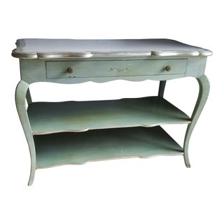 Final Markdown. 1930s Italian Florentine Painted With White Marble Top Console or Dressing Table For Sale