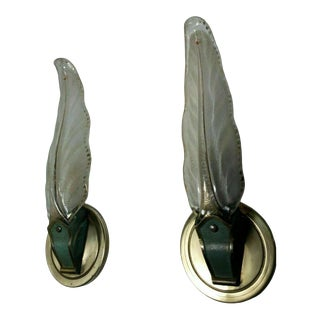 1930's French Art Deco Frosted Art Glass Leaf Form Wall Sconces Attrib. Atelier Petitot - a Pair For Sale