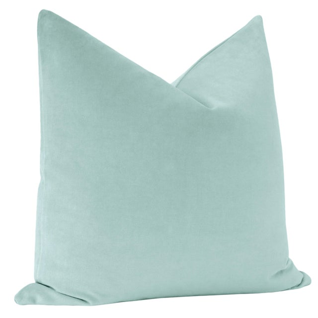 "Contemporary 22"" Sky Blue Velvet Pillows - a Pair For Sale - Image 3 of 5"