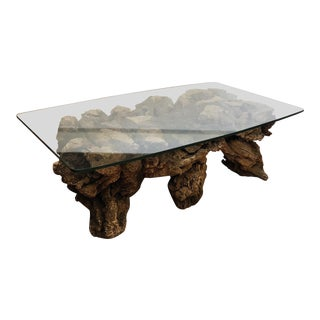 1960s Organic Modern Grapevine Trunk Coffee Table For Sale