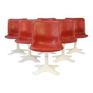 Mid Century Modern Yrjo Kukkapuro for Haimi, Finland Leather Dining Chairs- Set of 6 For Sale
