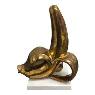Jonathan Adler Brass Banana Sculpture on a White Marble Base