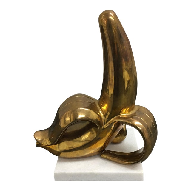 Jonathan Adler Brass Banana Sculpture on a White Marble Base - Image 1 of 7