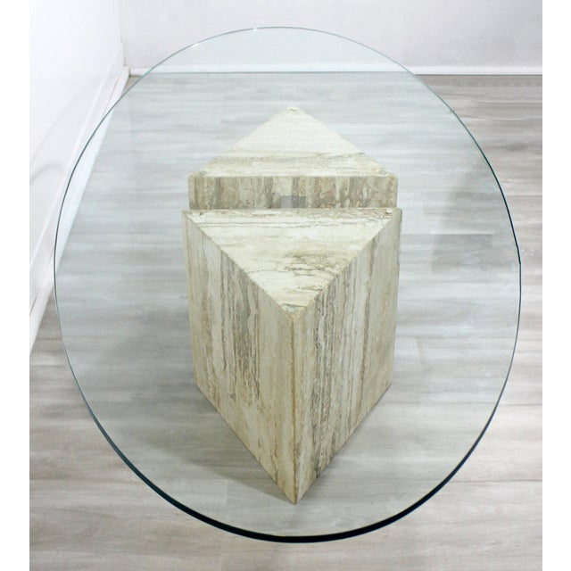Metal Mid-Century Modern Italian Marble Chrome Glass Surfboard Coffee Table, 1970s For Sale - Image 7 of 9