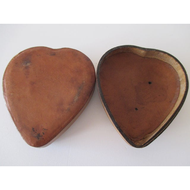 Vintage Heart Shaped Embossed Leather Trinket Box In tan and gold Size: 2 x 2 x 0.25