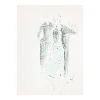 Gibson Bayh Fashion Illustration in Blue and Black Ink and Gouache Drawing, 1950s For Sale
