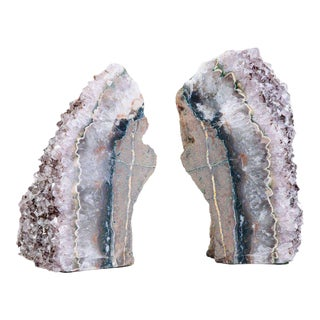 Pair of Organic Amethyst Crystal and Geode Bookends