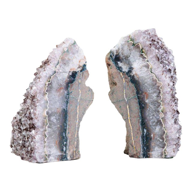 Pair of Organic Amethyst Crystal and Geode Bookends - Image 1 of 9