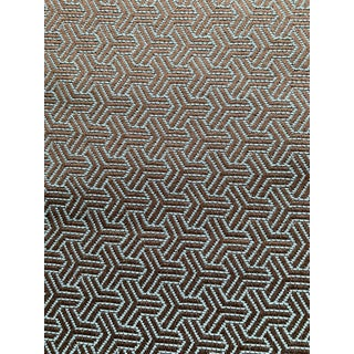 Kravet Brown & Sky Blue Woven Geometric Fabric 2+ Yards For Sale