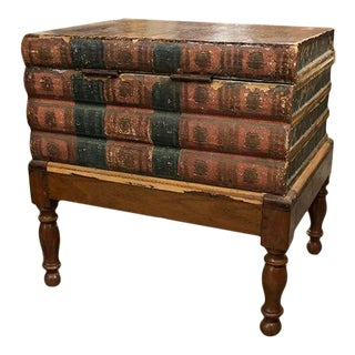 French Faux Book Table With Lift Up Lid for Storage Inside For Sale