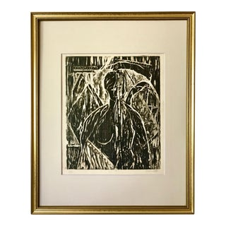 Vintage Modernist Abstract Nude Figure Etching by Oscar Murillo For Sale