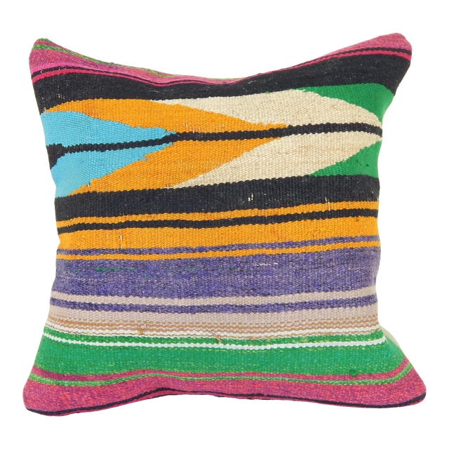 "Square Turkish Vintage Kilim Pillow Cover 20"" X 20"" For Sale"