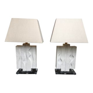 1980s Vintage Casual Lamps of California Abstract White Plaster Lamps- A Pair For Sale