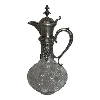 Antique Rococo Sterling & Crystal Pitcher