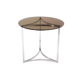 Triangular Bent Chrome Ribbon Base Smoked Glass Top Side End Table For Sale