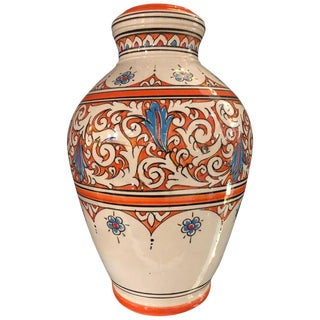 Moroccan Vintage Hand Painted Orange, White and Blue Vase For Sale