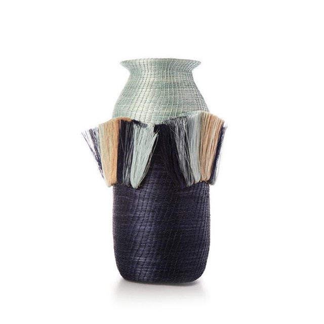 Boho Chic Fanned Out Small Tall Vase Pool/indigo For Sale - Image 3 of 3