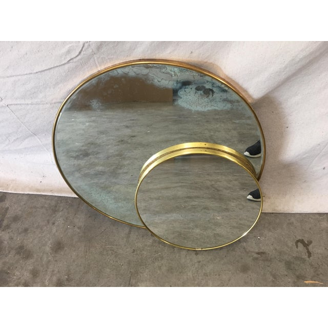 Italian Pair of Mid-Century Italian Round Wall Mirrors For Sale - Image 3 of 4