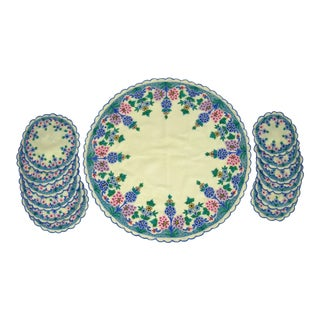 Embroidered Tabletop Linens, 13 Pcs. For Sale