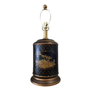 1980s Chinoiserie Tea Canister Black and Gold Lamp For Sale