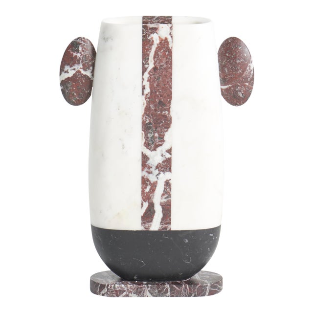 Vase in Red White and Black Marble by Matteo Cibic, Made in Italy For Sale