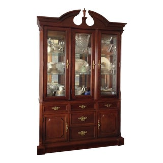 Bassett Cherry Wood Queen Anne Lighted China Cabinet