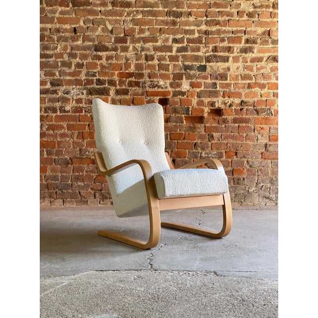 1940s Vintage Alvar Aalto Model 401 Cantilever Lounge Chair in Bouclé by Finmar For Sale - Image 10 of 12
