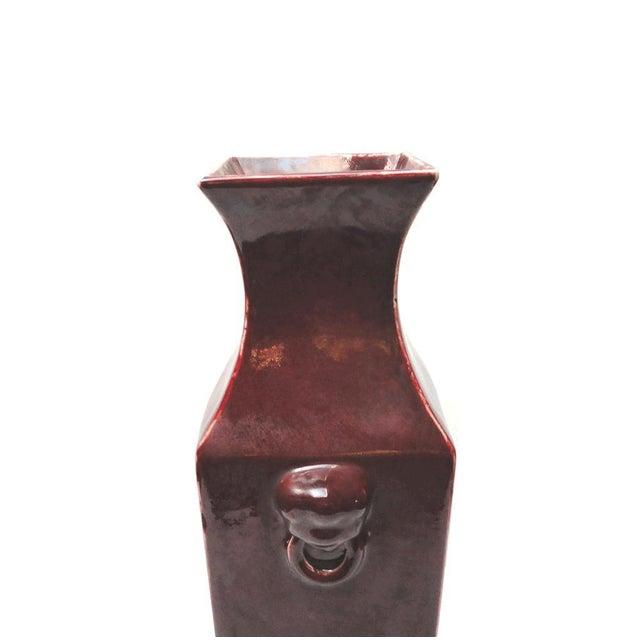 Chinese Dark Red Glaze Porcelain Foo Dog Head Vase - Image 4 of 7