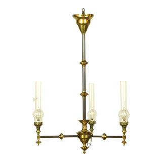 Gasolier Three Light with Chimneys For Sale