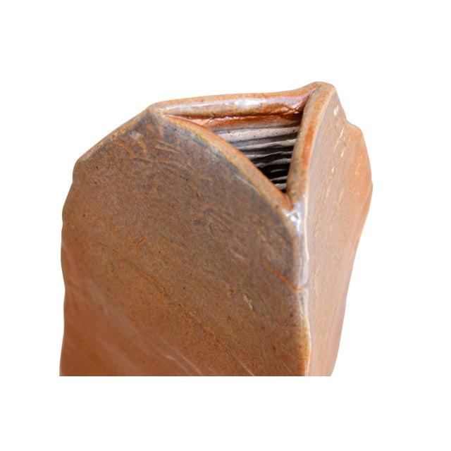 Southwestern Style Triangular Earthenware Vase For Sale - Image 4 of 6