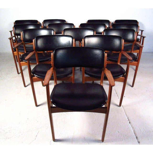 Campaign Mid-Century Teak Conference Table & 14 Eric Buck Dining Chairs For Sale - Image 3 of 10