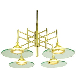 Architectural Four-Light Brass and Glass Pendant Halogen Chandelier For Sale