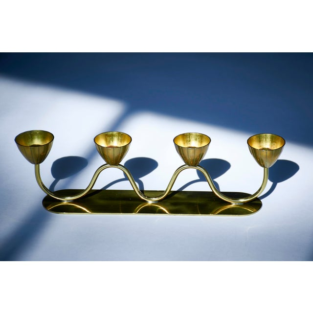 Ystad Metall Vintage Gunnar Ander for Ystad Metall Swedish Modern Candelabra, 1950's For Sale - Image 4 of 9