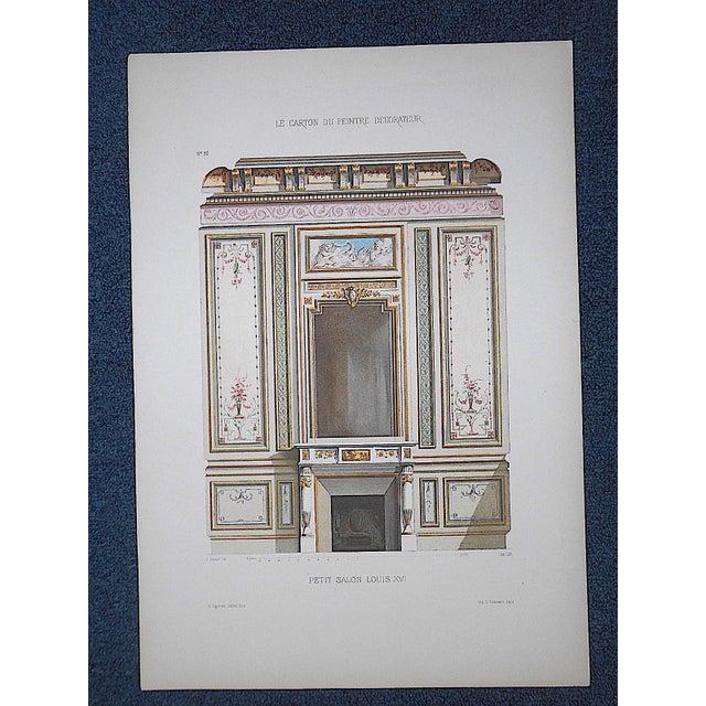 Antique Color Lithograph-French Interior Design Motifs c.1880-Folio Size For Sale - Image 4 of 4