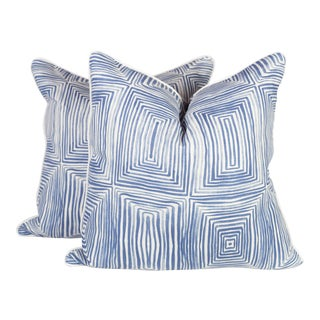 Navy Concentric Squares Pillows - a Pair